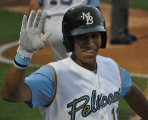 Bostick celebrates a home run vs the Frederick Keys during a comeback win May 1st.