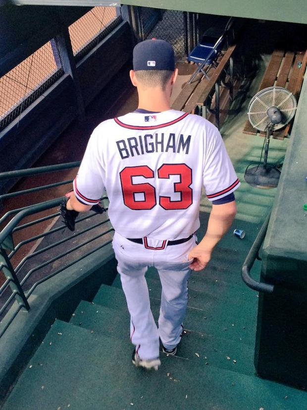 Brigham heads from the bullpen into the game for his MLB debut in the 6th inning - Photo by Krissy Rogers